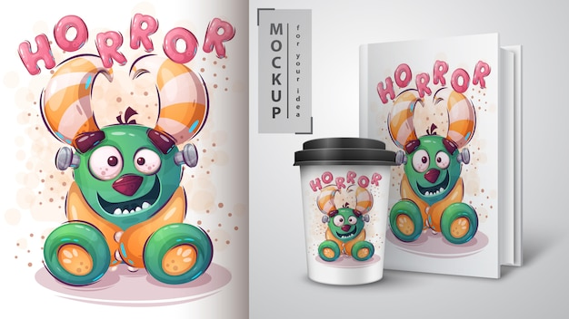Cartel de monstruo de terror y merchandising.