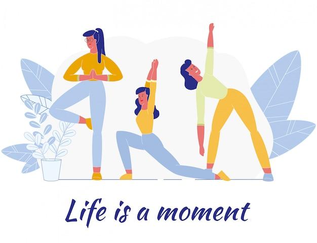 Cartel de motivación con hermosas mujeres haciendo ejercicio