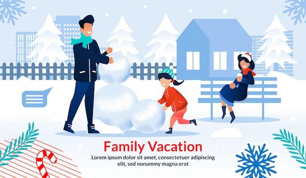 Cartel motivador pasar el invierno con la familia