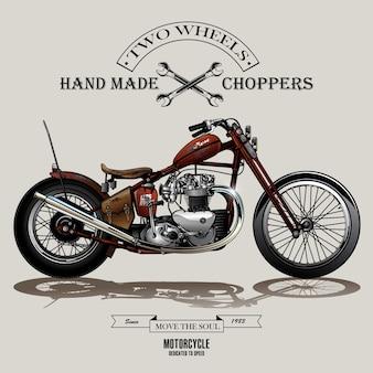 Cartel de la motocicleta chopper vintage