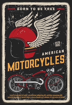 Cartel de motocicleta, moto vintage, motociclista