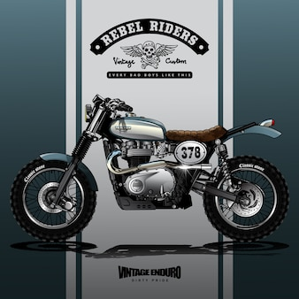 Cartel de la motocicleta de srambler del vintage