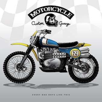 Cartel del motocross del srambler del vintage