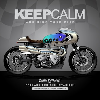 Cartel de motos de carreras clásicas