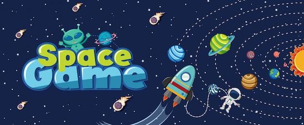 Cartel con muchos planetas en el sistema solar.