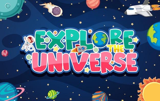 Cartel con muchos planetas en el universo.