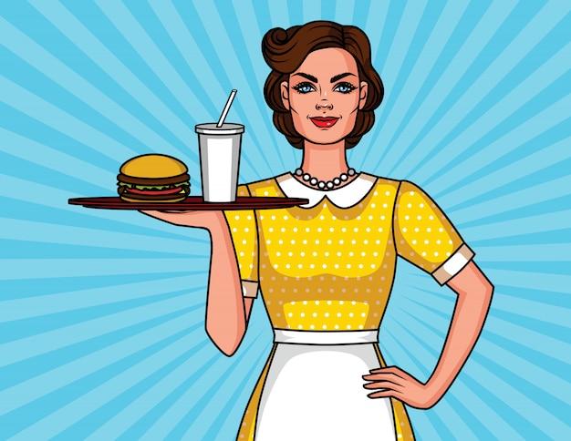 Cartel con mujer sonriente en delantal con hamburguesa y cola