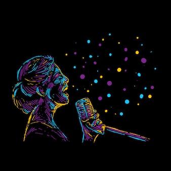 Cartel de la música abstracta ilustración vectorial cantante femenina