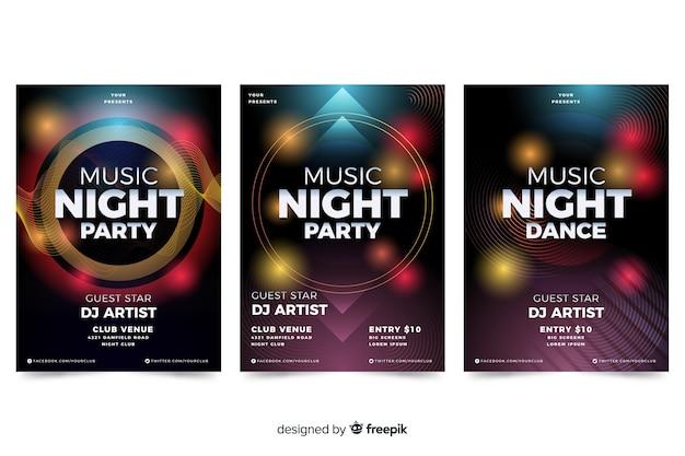 Cartel de música abstracta con plantilla de efectos de luz