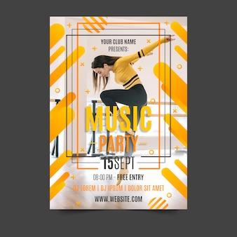 Cartel de música de diseño abstracto con foto