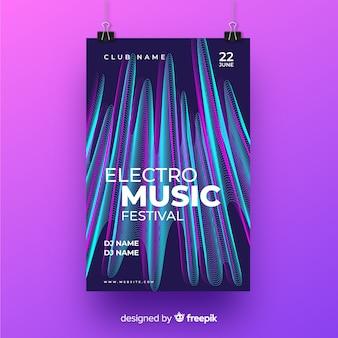 Cartel de música con efecto de falla para discotecas