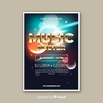 Cartel de música de efecto de luz abstracta de plantilla