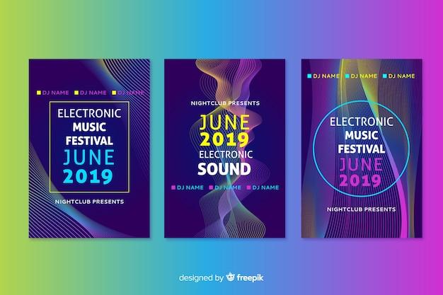Cartel de música electrónica abstracta de plantilla con ondas