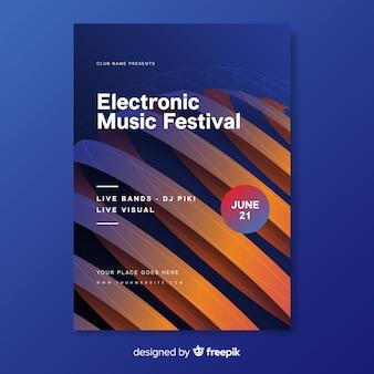 Cartel de música electrónica abstracta de plantilla