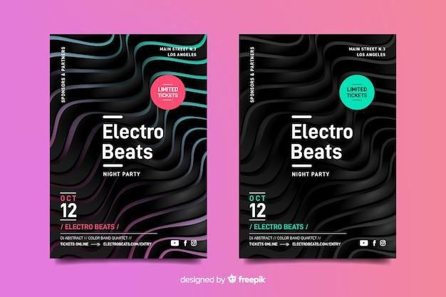Cartel de música electrónica de efecto 3d abstracto de plantilla