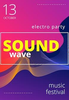 Cartel de música electrónica. folleto de fiesta club moderno. fondo de música degradados abstractos. portada del festival de música