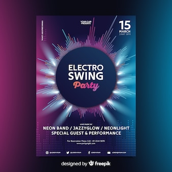 Cartel de música electrónica de onda abstracta de plantilla