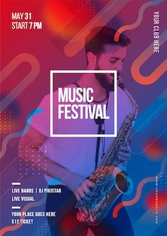 Cartel de música de estilo abstracto con foto