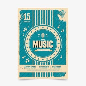 Cartel de música en estilo retro