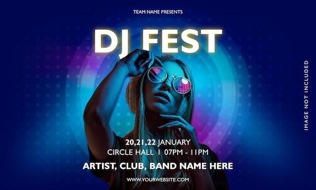 Cartel de música de fiesta del festival dj
