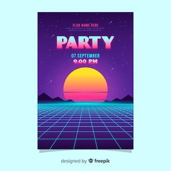 Cartel de música futurista retro con puesta de sol