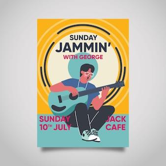 Cartel de música con hombre tocando la guitarra