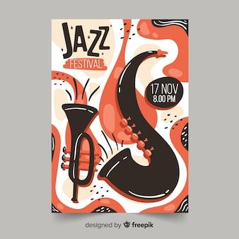 Cartel de música jazz dibujado a mano de plantilla