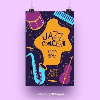 Cartel de música jazz dibujado a mano