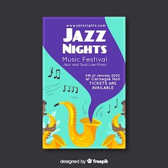 Cartel de música jazz en estilo dibujado a mano