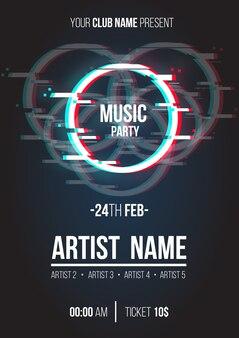 Cartel de música moderna con círculo de glitch.