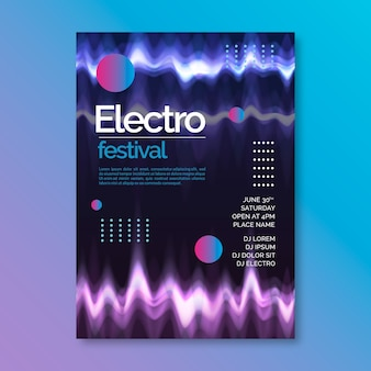 Cartel de música de onda abstracta de plantilla