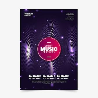 Cartel de música de ondas sonoras abstractas