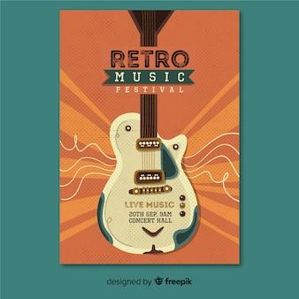 Cartel de música retro de plantilla