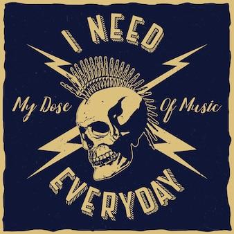 Cartel de música rock con la frase necesito mi dosis de música todos los días.