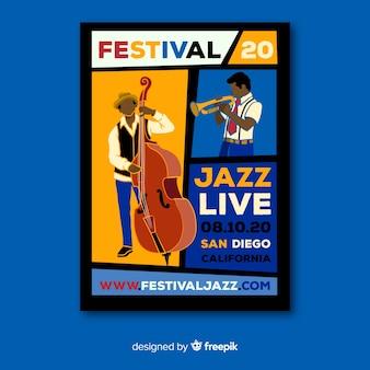 Cartel de música en vivo de jazz dibujado a mano de plantilla