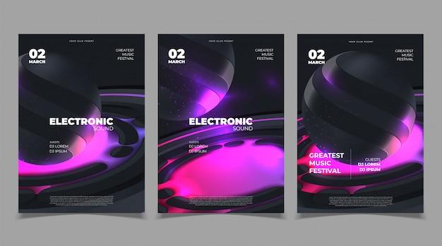 Cartel musical para festival electrónico. concepto de diseño de portada de electro music fest.