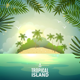Cartel de naturaleza isla tropical