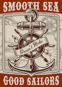 Cartel náutico de estilo vintage con ancla sobre fondo blanco. el texto está en un grupo separado.