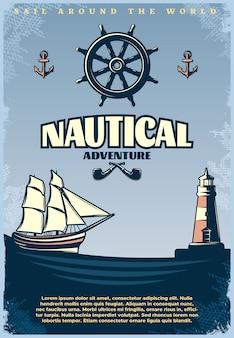 Cartel náutico retro con titulo de navegación alrededor del mundo titulares de aventura náutica