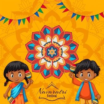 Cartel navaratri con patrón de mandala y niños felices