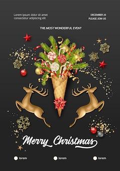 Cartel de navidad y año nuevo con ciervo dorado y cono de waffle con ramas de abeto