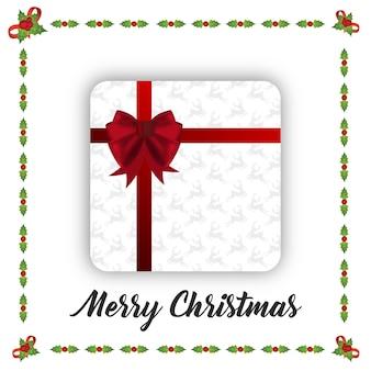 Cartel de navidad con caja de regalo de navidad y marco sobre fondo blanco con tpography