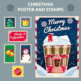 Cartel de navidad y colección de sellos.