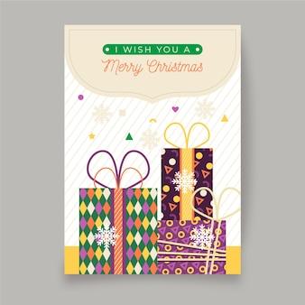 Cartel de navidad con coloridas formas geométricas