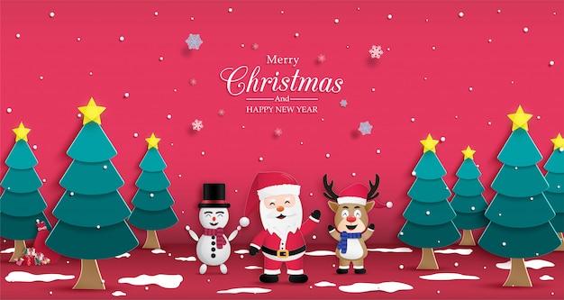 Cartel de navidad y feliz año nuevo