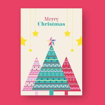Cartel de navidad con formas geométricas de árboles.