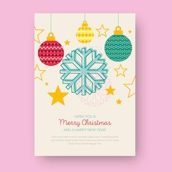 Cartel de navidad con formas geométricas de bolas de navidad