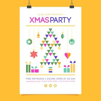 Cartel de navidad con formas geométricas