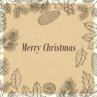 Cartel de navidad grunge con ramas y conos