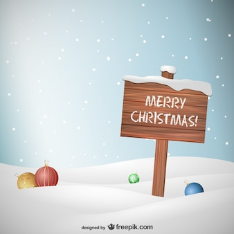 Cartel de navidad de madera
